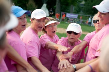 The Moms celebrate their victory.