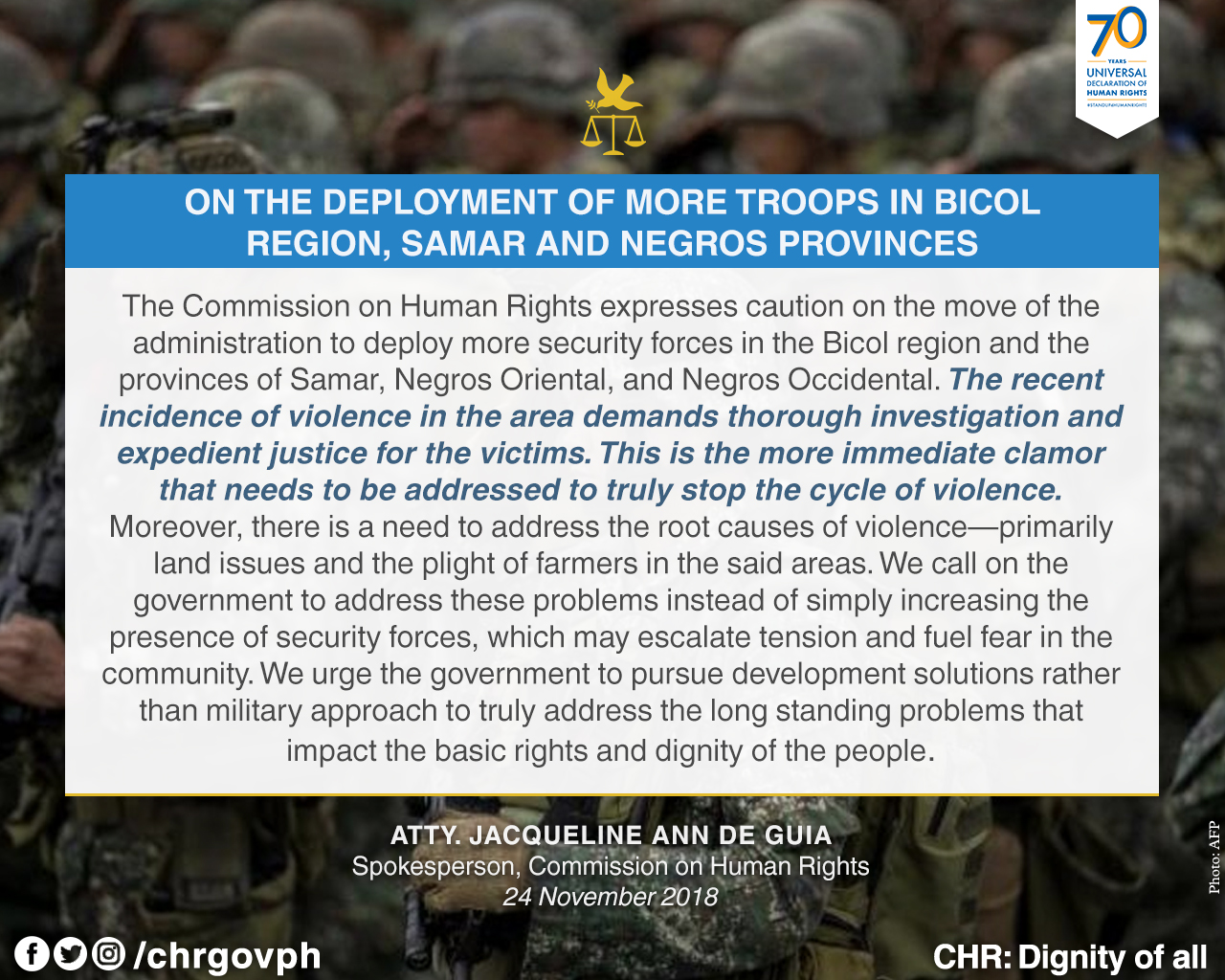 Statement of CHR spokesperson, Atty  Jacqueline de Guia, on