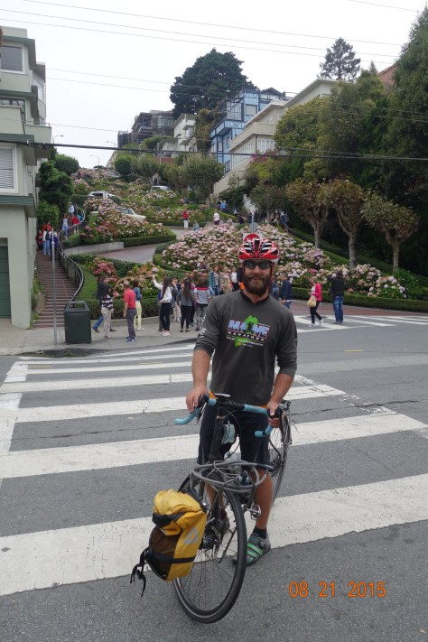 Looking up at Lombard Street.