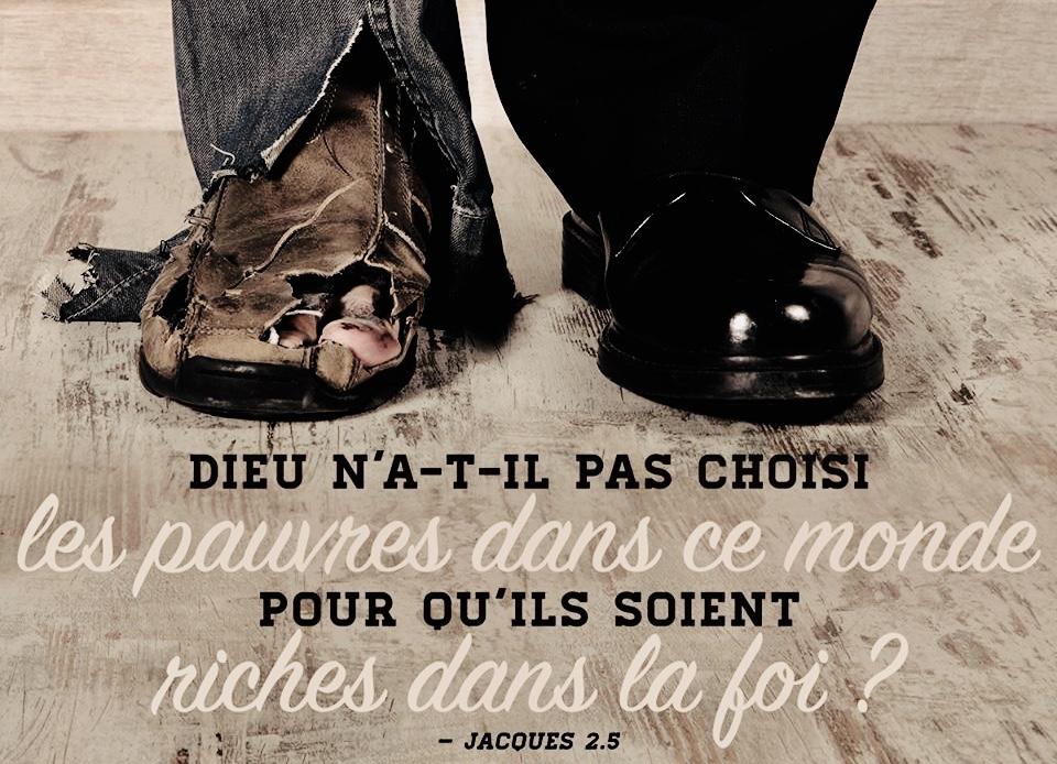 """Dieu n'a-t-il pas choisi les pauvres aux yeux du monde"""" (Jacques 2:5) -  Méditations quotidiennes - Journal Chrétien"""