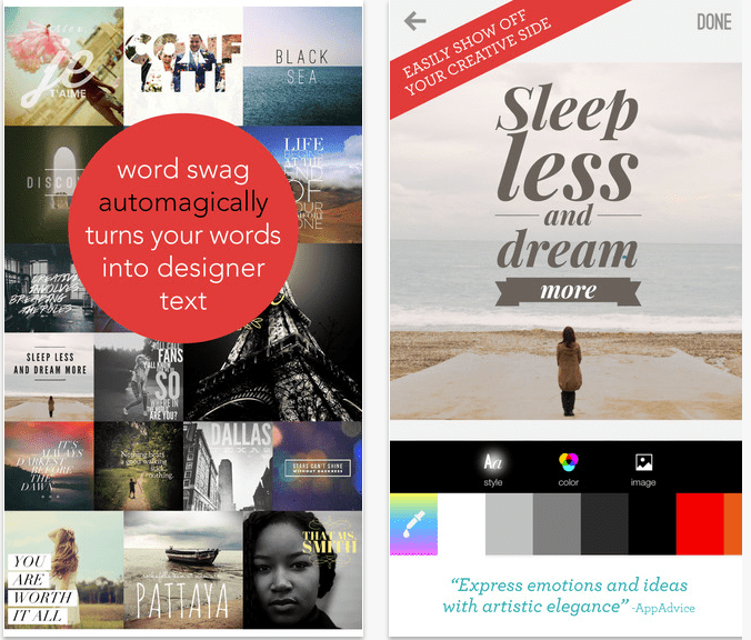 Instagram Apps Word Swag Screens