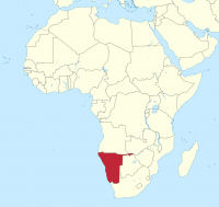 Map of Namibia in Africa