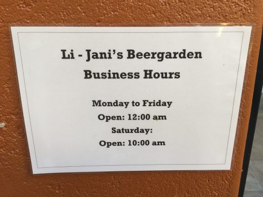 "Posted hours of a nearby hangout for tired trainees at the end of the day. Not the first time I've seen a reference only to opening hours. Another place closes ""when there's no one else here or we're tired..."""