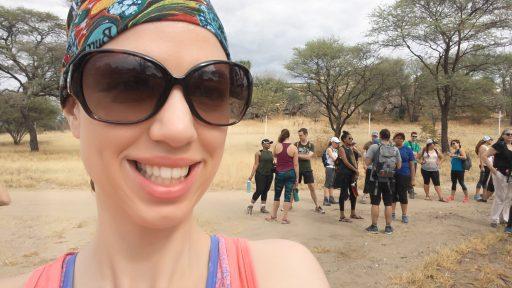 Angel Sanford, ready to climb Pride Rock, Okahandja