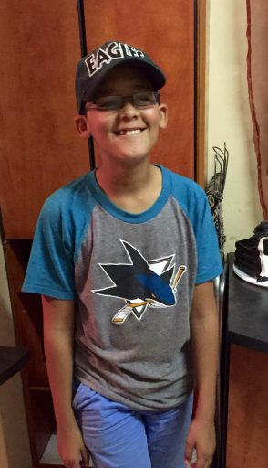 My host family son, Damien, sporting the San Jose Sharks t-shirt I brought with me.