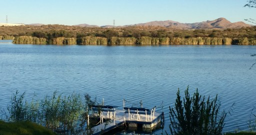 A view of the reservoir from the terrace at Penduka Village.