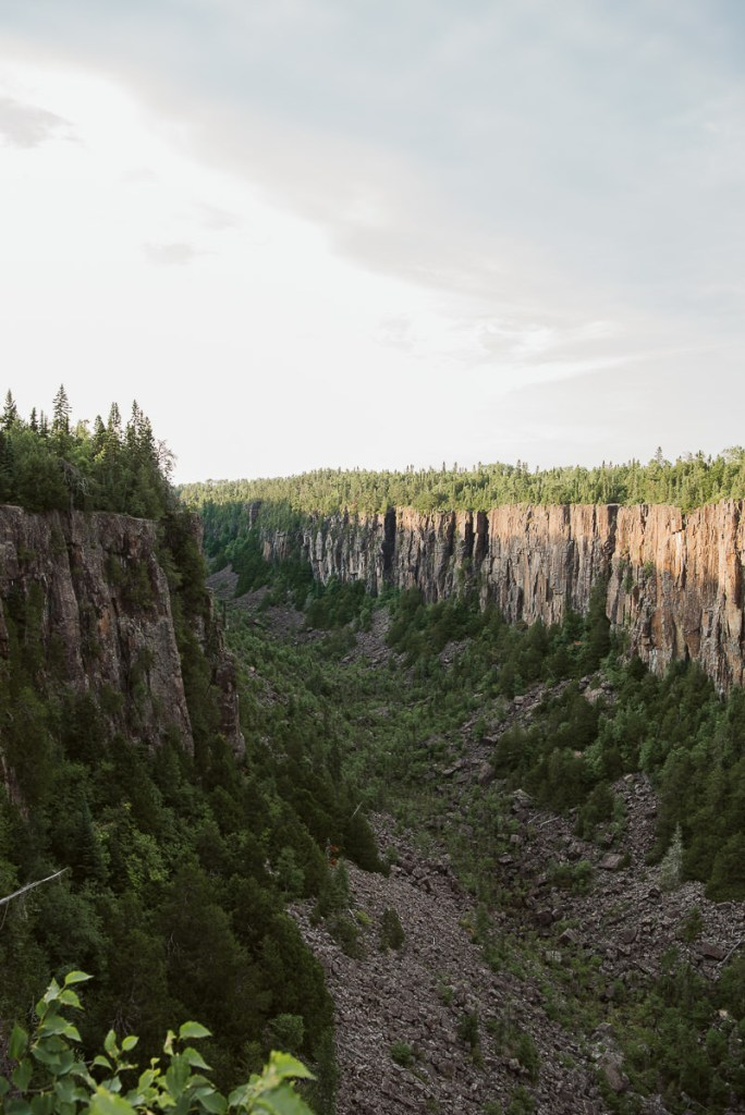 Looking down at the 100 metre deep canyon floor at Ouimet Canyon Provincial Park.