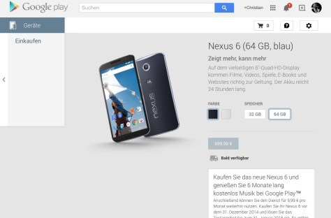 NEXUS 6 im Play Store