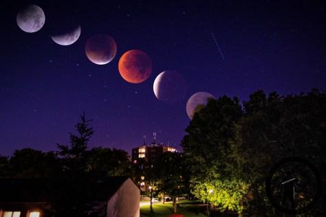 Mondfinsternis 2015 (Montage aus 7 Bildern)
