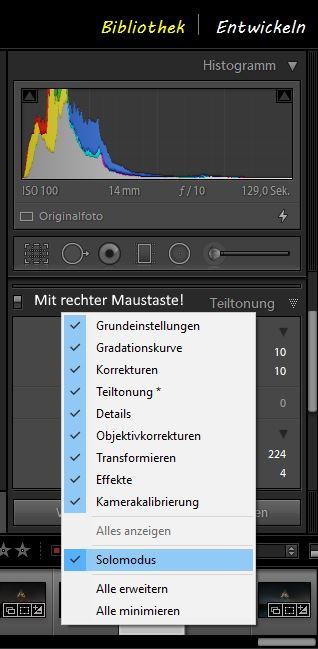 Adobe Lightroom Solo-Modus