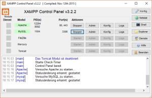 XAMPP Control Panel, Apache und MySQL-Datenbank sind gestertet