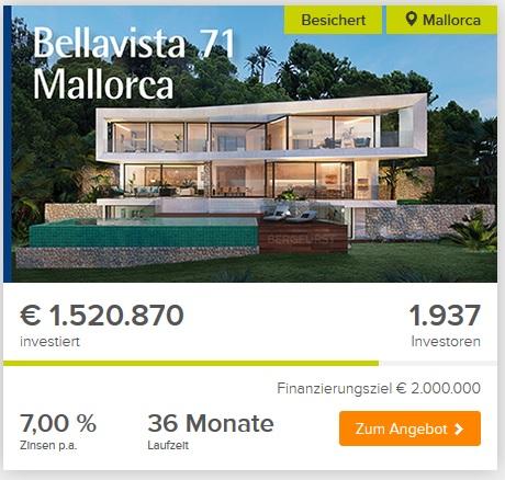Bergfürst - Crowdinvesting von Immobilien wie die Luxusvilla Bellavista 71 Mallorca (Screenshot Bergfürst)