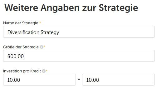 Mintos - Weitere Angaben zur Strategie - Größe der Strategie