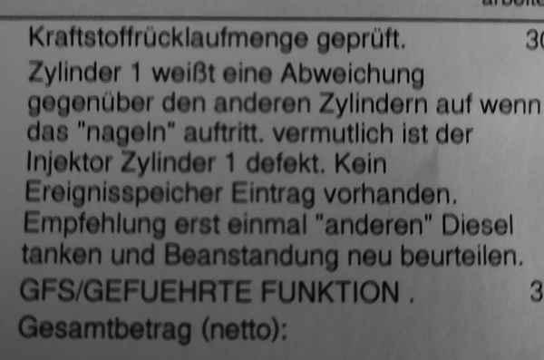 Werkstatt-Bericht - Injektor defekt
