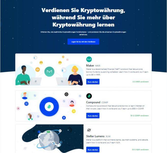 Cryptos gratis erhalten über Coinbase Earn