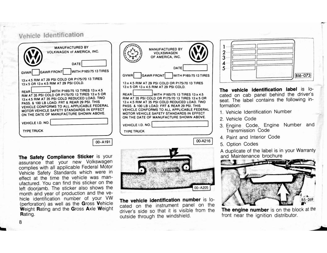 Vw Rabbit Pickup Owners Manual Page 9