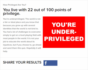 """My results from the BuzzFeed """"How Privileged Are You?"""" Quiz."""
