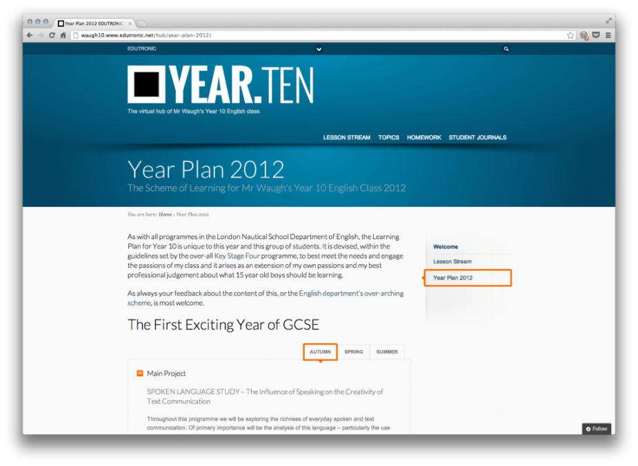 01 - Class Blog - Year Plan