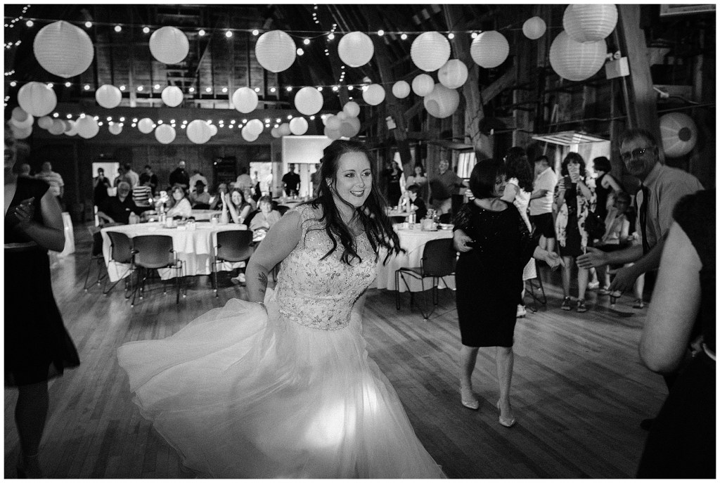 bride dancing on dance floor at crystal cliffs wedding venue