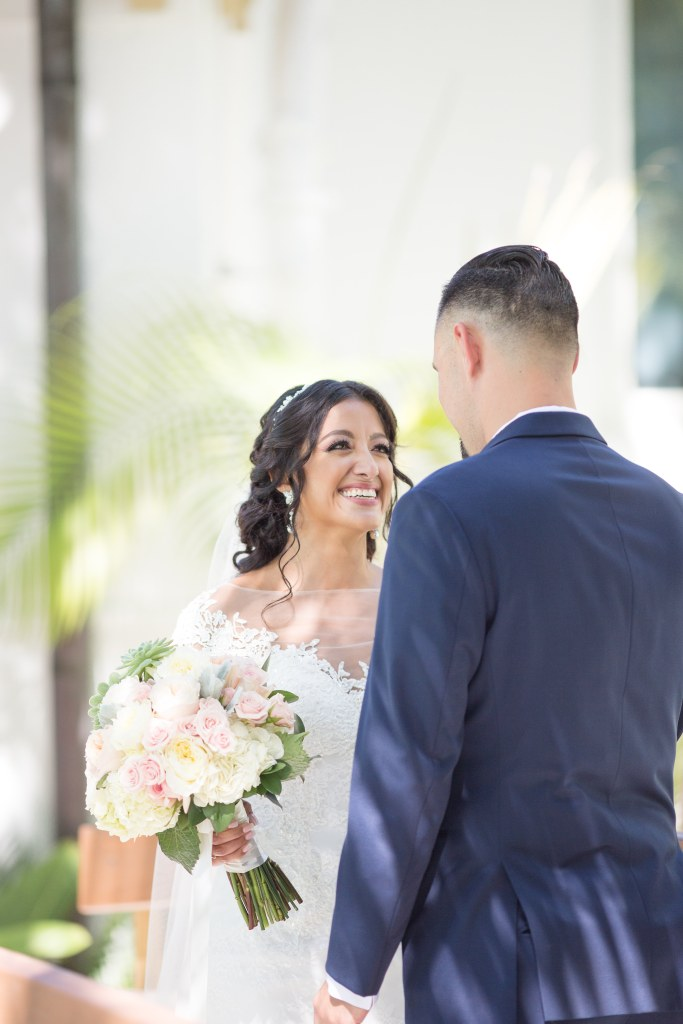 First look with bride and groom on their wedding day at Cheeca Lodge in Islamorada, Florida| Chris Sosa Photography | Miami Wedding Photographer