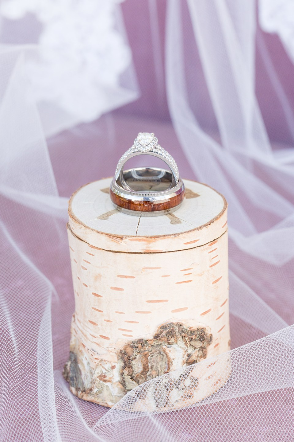 custom wooden box with wedding rings on top