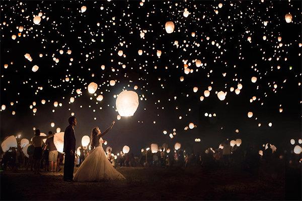 paper lantern wedding reception