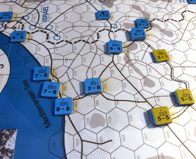 Initial breakout, End of Turn 1 Combat, 1967 scenario, Sinai (SPI)