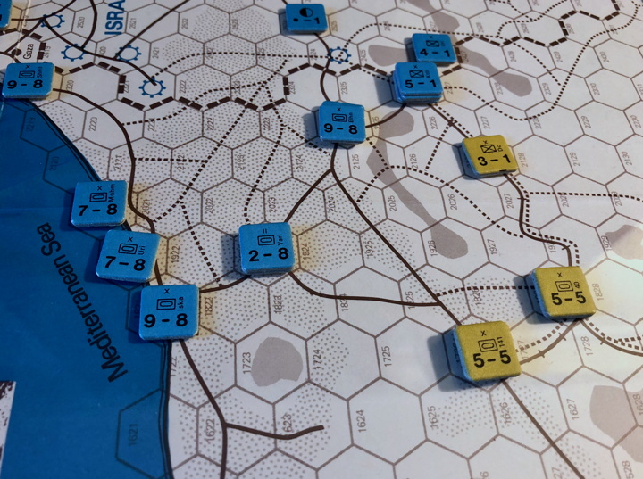 Sinai 1967 Scenario Turn 1 after Israeli Combat Phase, Sinai Front