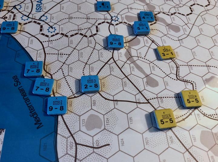 Sinai 1967 Scenario Turn 1 after Israeli Combat Phase, Sinai Front