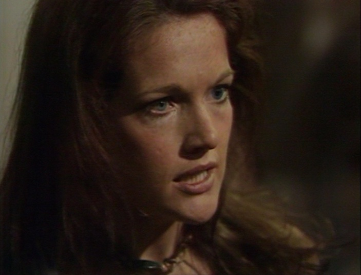 Louise Jameson as Leela, excoriating someone's honor