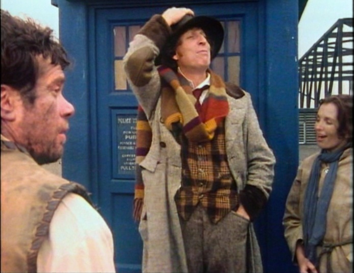 The Fourth Doctor, saying goodbye to the liberated workers of Pluto