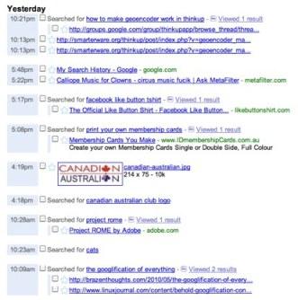 Google - Web History
