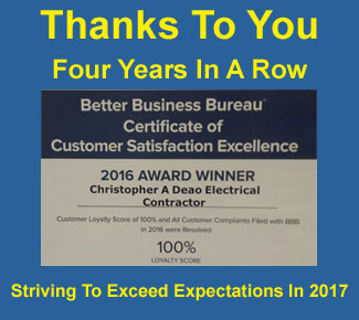 Four years in a row Better Business Bureau certificate of customer satisfaction excellence