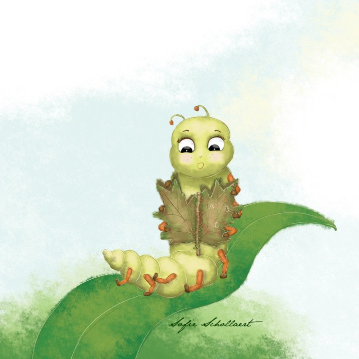 Katie, the caterpillar in my first children's picture book, loves to read