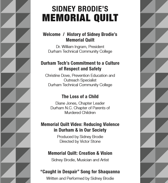 Event for the Victims of Violent Death Memorial Quilt