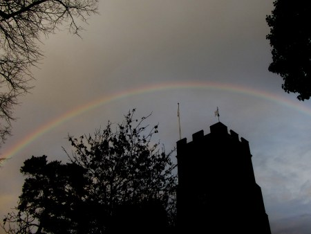 Rainbow over Ruscombe church, January 3rd.