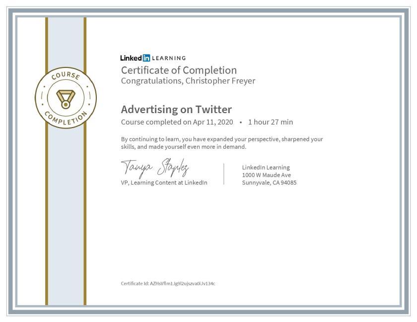 CertificateOfCompletion_Advertising on Twitter-Chris-Freyer