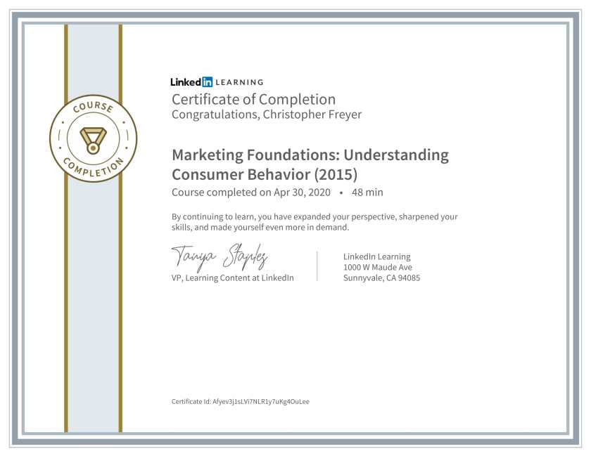 CertificateOfCompletion_Marketing Foundations_ Understanding Consumer Behavior (2015)-Chris-Freyer-1