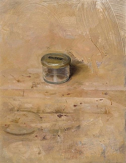 Christopher Gallego, American b. 1959, Small Studio Jar, 2008, oil on board, 13 x 8 in., The Drawing Room Gallery, Greenwich, CT