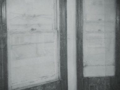 Christopher Gallego, Studio Windows, Charcoal and graphite drawing on paper, detail