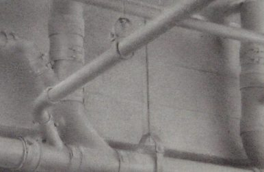 ceiling Pipes, charcoal, detail