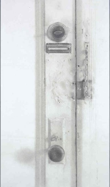 ​Door, Jersey City, 2008 Charcoal and graphite on paper, 21 x 12 in. $4000