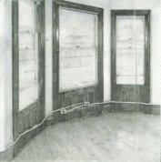 Christopher Gallego, Studio Windows, 2002, charcoal and graphite on paper, 60 x 57 in.
