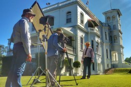 "Producer Albert Koomen, Camera Mick Fanning and Presenter Jerry Coleby-Williams. ""Gardening Australia"" 2016"