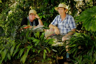 """Producer Simon Watt and Presenter Jerry Coleby-Williams stand by for lunch. """"Gardening Australia"""" 2016"""