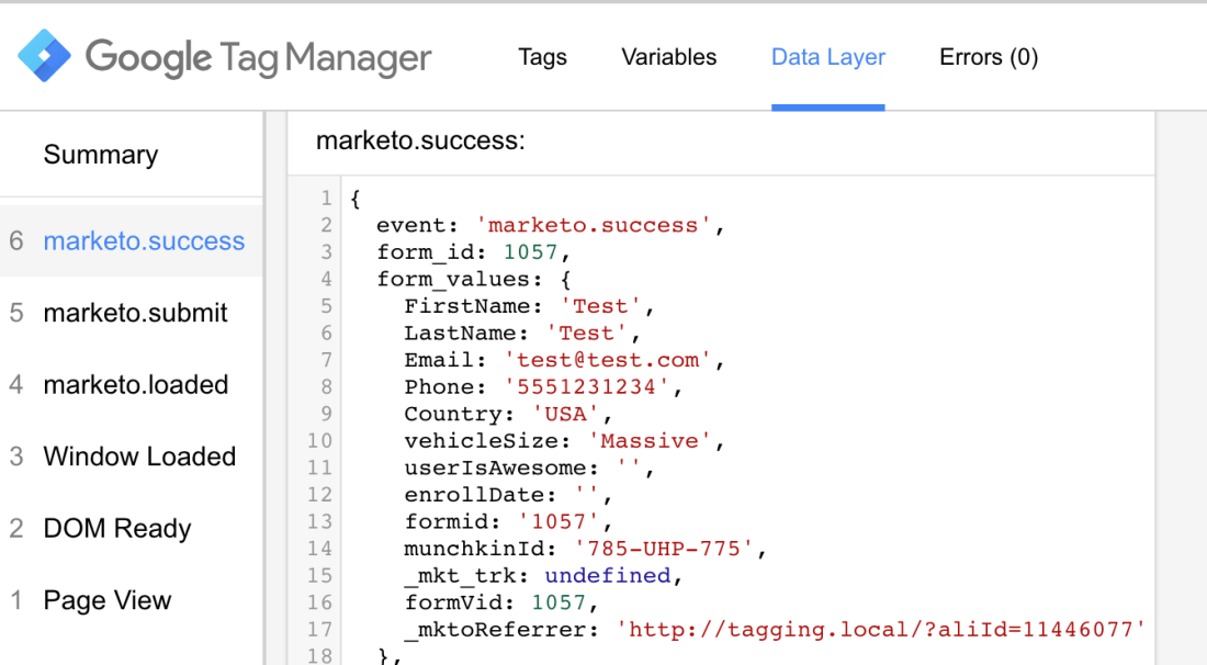 Google Tag Manager Marketo integration. Prevent form from submitted on success in order to inspect data layer state.