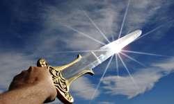 Sword held aloft