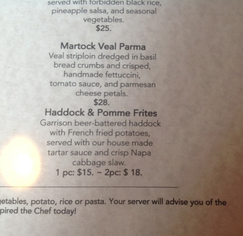 McGill's Cafe and Restaurant - Haddock and Pomme Frites Menu