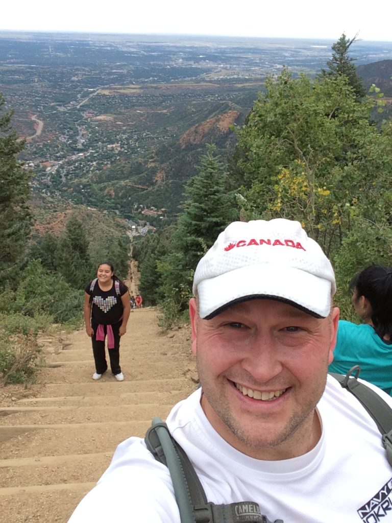 Manitou Springs Incline - The obligatory finish selfie. I really like the look on the face of the girl behind me - even though she's close, she knows that she still has more steps to climb!