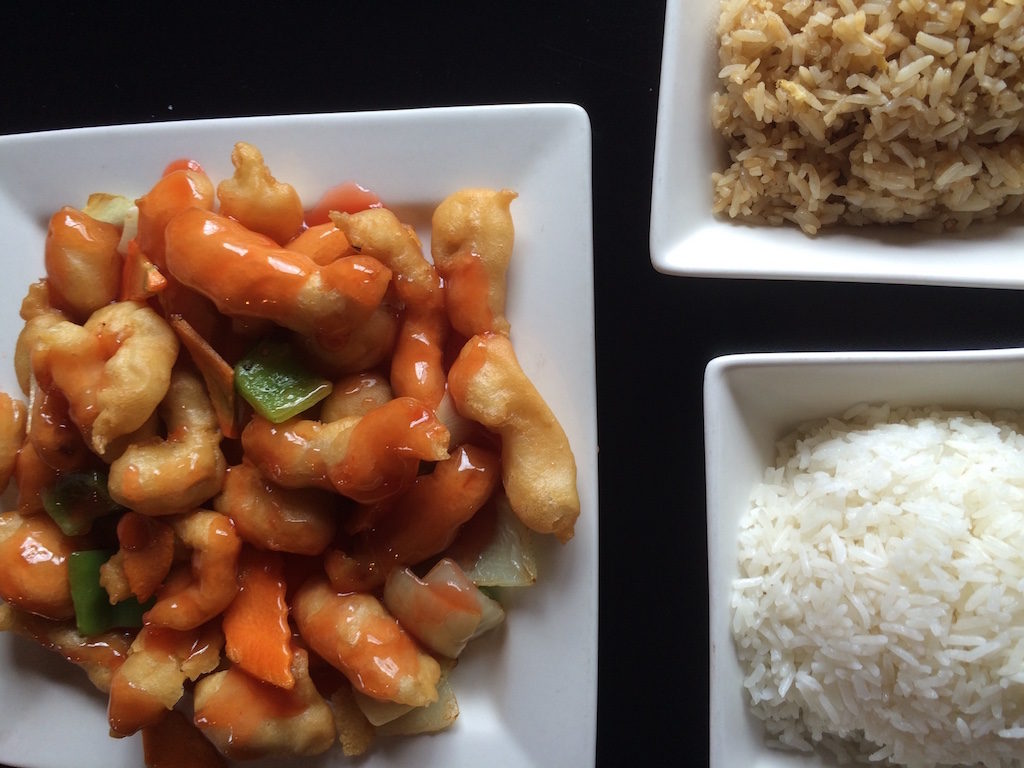 Fu-Sing - Sweet and Sour Chicken and rice (fried rice at top, plain at the bottom)